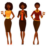 Elegant African American women with coffee vector illustration