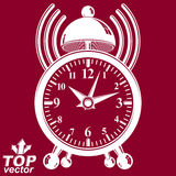 Elegant alarm clock vector 3d illustration with podcast sign.  Royalty Free Stock Image