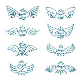 Elegant angel flying wings. Hand drawn wing tattoo vector design collection Stock Photography