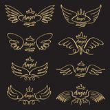 Elegant angel golden flying wings on black background. Flying angel with wing feather, golden linear winged, vector illustration Royalty Free Stock Images