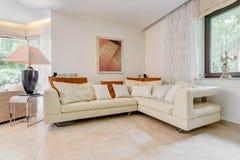 Elegant angled leather sofa Royalty Free Stock Photo