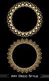 Elegant antiquarian golden circle frames in art deco style, 3d illusion in filigree ornament Stock Photography