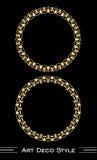 Elegant antiquarian golden circle frames in art deco style, 3d illusion in filigree ornament Stock Photos