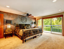 Elegant antique bedroom with walkout deck Royalty Free Stock Photo