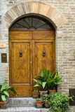 Elegant antique door entrance. Elegant antique door in San Gimignano, Tuscany Stock Photography