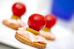 Elegant appetisers. Elegant and sophisticated  appetizers on a plate Stock Photo