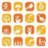 Färga den arbeta i trädgården symbolsuppsättningen Fotografering för Bildbyråer