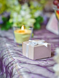 Elegant arrangements on wedding restaurant table Stock Images
