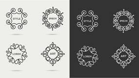 Elegant art line monogram logo design Stock Photos