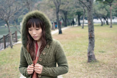 Elegant Asian woman, closeup portrait in outdoor. Royalty Free Stock Photos