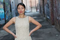 Elegant Asian woman in dark urban alley way isolated with copy space Stock Images