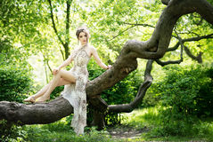 Elegant asian woman in garden, fashion model. Outdoor Stock Photography