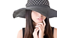 Elegant asian woman with hat Royalty Free Stock Photos
