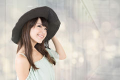 Elegant asian woman with hat Stock Image
