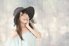 Elegant asian woman with hat Royalty Free Stock Photography