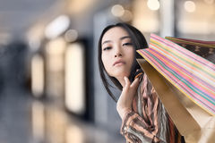 Elegant Asian woman shopping Royalty Free Stock Photos