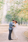 Elegant attractive bride and groom posing outdoors in the late summer park Royalty Free Stock Photos