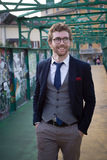 Elegant attractive fashion hipster man lifestyle Royalty Free Stock Photos