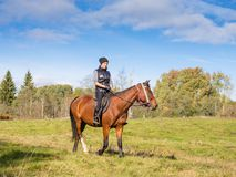 Elegant attractive woman riding a horse Royalty Free Stock Images