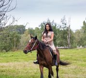 Elegant attractive woman riding a horse Stock Photos