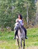 Elegant attractive woman riding a horse meadow. Elegant attractive woman riding a horse farm Royalty Free Stock Photography