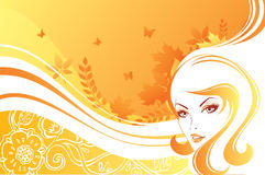 Elegant autumn girl. Vector illustration Royalty Free Stock Photo