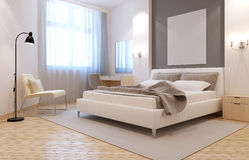 Elegant avangard bedroom interior Stock Photos