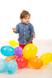 Elegant baby boy with balloons Royalty Free Stock Photos
