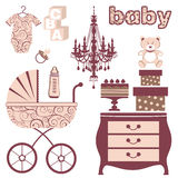 Elegant baby shower set Stock Image