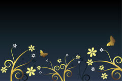 Elegant background. Blue and golden background with flowers and butterflies Royalty Free Stock Photography