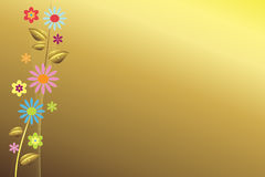 Elegant background. Golden background with colorful flowers Stock Photography