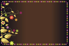 Elegant background. Brown background with colorful flowers and golden leaves Stock Photo
