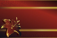 Elegant background. Red and golden background with swirls and flower Stock Images