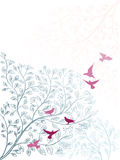 Elegant background with branch of tree and birds Stock Photos