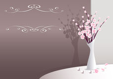 Elegant Background with flowers in vase and pearls Stock Images