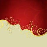 Elegant background with golden swirls. Elegant red and beige background with golden swirls Royalty Free Stock Images