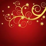 Elegant background with golden swirls. Elegant red background with golden swirls and stars Royalty Free Stock Photos