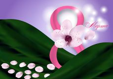 Elegant Background for Holiday March 8 International Women`s Day with pink flower, petals and Digit eight, the text in Russian. March 8. Vector Illustration royalty free illustration