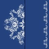 Elegant background with lace ornament. Filigree floral pattern on a blue background. Vector illustration EPS 10 Royalty Free Stock Photo