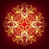 Elegant background with lace ornament. Filigree floral pattern on a dark red background Royalty Free Stock Photos