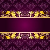 Elegant background with lace ornament. Filigree floral pattern on a purple background Stock Image