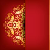 Elegant background with lace ornament. Filigree floral pattern on a red  background Stock Image
