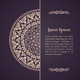 Elegant background with lace ornament. And place for text. Floral elements, ornate background, mandala. Vector illustration Stock Image