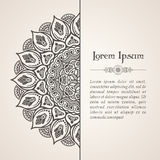 Elegant background with lace ornament. And place for text. Floral elements, ornate background, mandala. Vector illustration Royalty Free Stock Images
