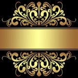 Elegant Background with royal golden Borders and Ribbon. Stock Photo
