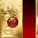 Elegant background with three Christmas balls. Background with stars and Christmas balls, illustration Stock Photo