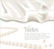 Elegant background with white silk and pearls Royalty Free Stock Photos