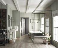 Elegant badruminre med lantliga brytningar fotografering för bildbyråer