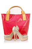 Elegant bag and shoes Stock Images