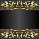 Elegant bakgrund dekorerade de guld- kungliga gränserna med stället för text Royaltyfri Foto